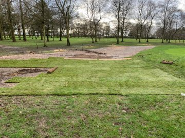 Further work behind the 7th green to improve drainage